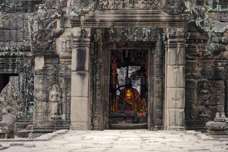 Porte d'Angkor Vat, Cambodge image libre de droits