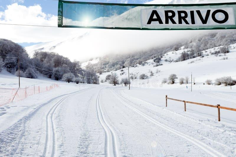 Porte d'arrivée sur la Pays-croix Ski Slope photographie stock libre de droits
