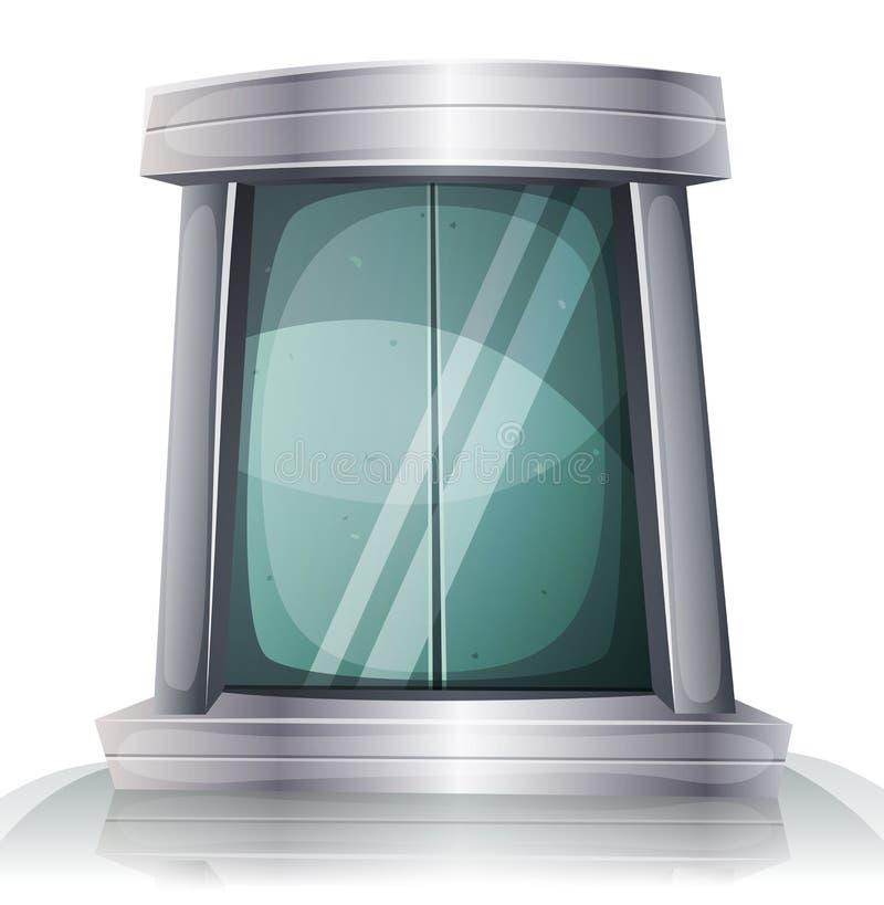 Porte d'ascenseur de fer de Scifi de bande dessinée illustration libre de droits