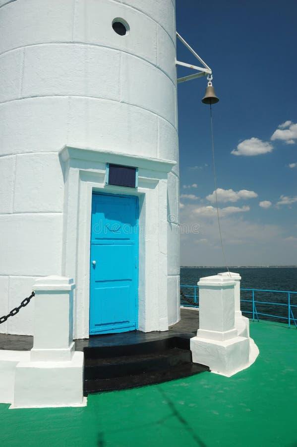 Porte d'entrée au vieux phare de Vorontsov dans la baie d'Odessa, Ukraine image stock