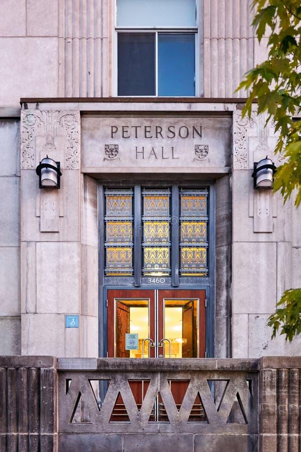Porte d'entrée de hall de Peterson d'université de McGill sur la rue mctavish à Montréal, Québec, Canada photo libre de droits