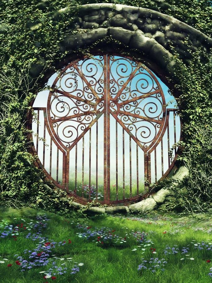 Porte d'imagination dans un jardin illustration libre de droits