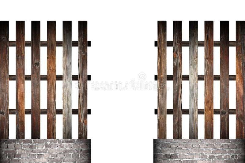 Porte dans la barrière simple en bois photographie stock