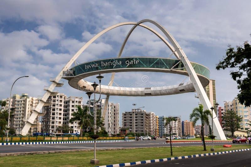 Porte de Biswa Bangla ou porte de Kolkata ? la ville nouvelle photographie stock libre de droits