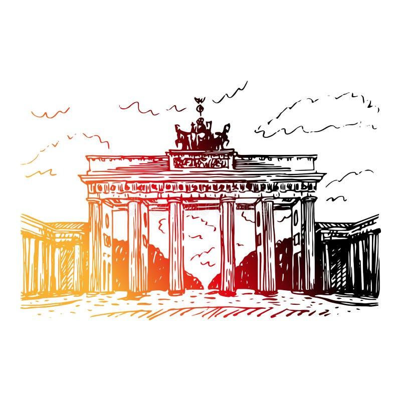 Porte de Brandebourg à Berlin, Allemagne illustration libre de droits