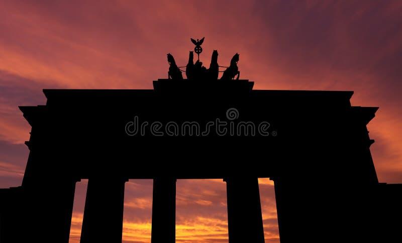 Porte de Brandebourg Au coucher du soleil illustration libre de droits