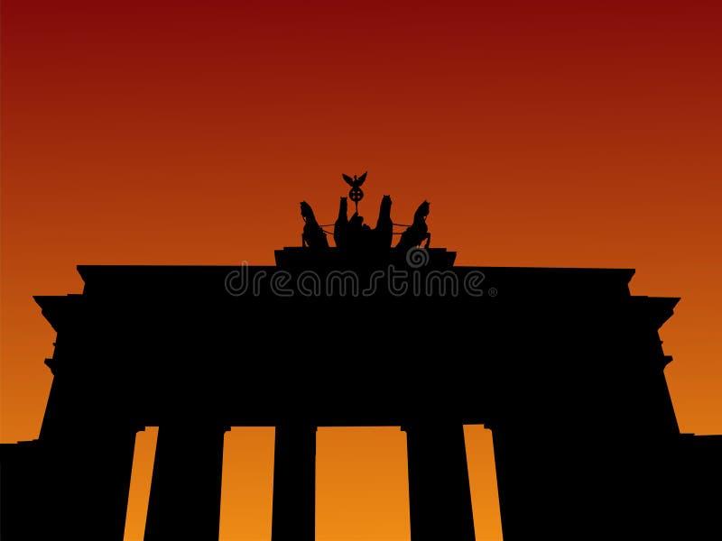 Porte de Brandebourg Au coucher du soleil illustration stock