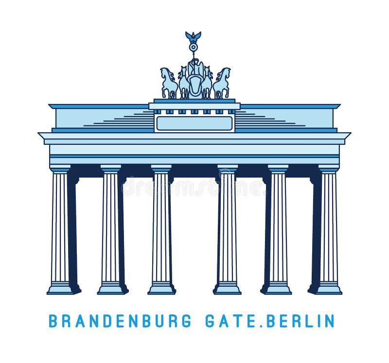 Porte de Brandebourg de schéma, Berlin, Allemagne, monument célèbre européen, illustration de vecteur dans le style plat illustration libre de droits