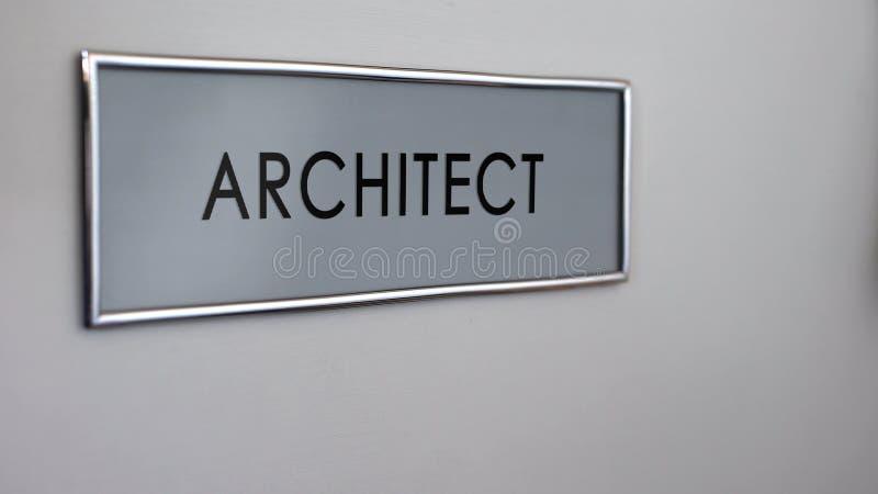 Porte de bureau d'architecte, approbation de projet de construction, lotissement immobilier images stock