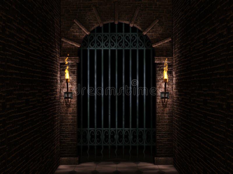 Porte de château de voûte et de fer illustration stock
