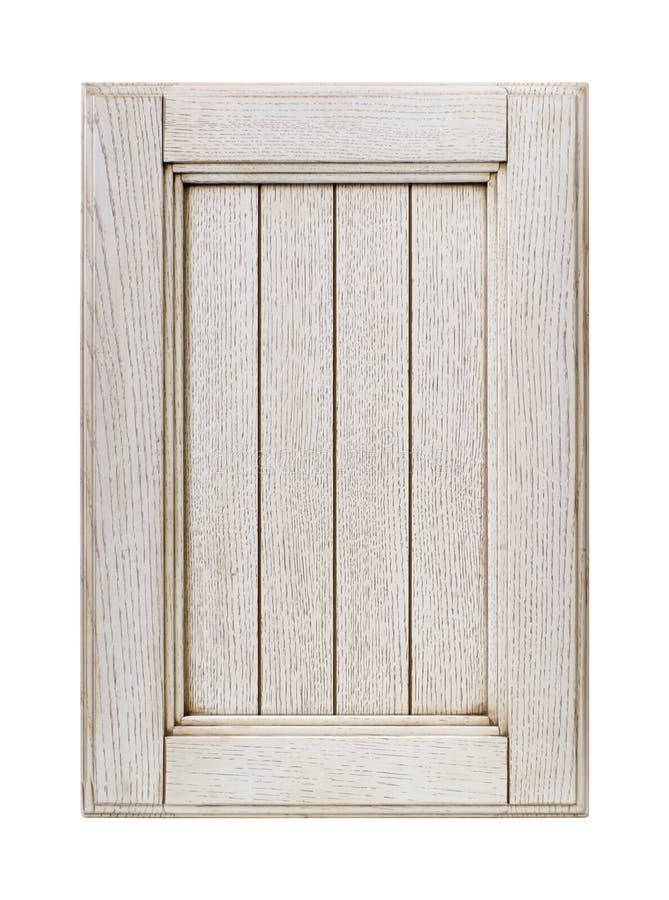 Porte de coffret avant de cadre en bois de cuisine d'isolement sur le blanc image stock