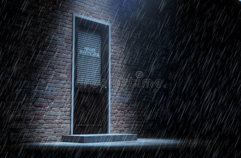 Porte de détective privé en dehors de pluie illustration stock