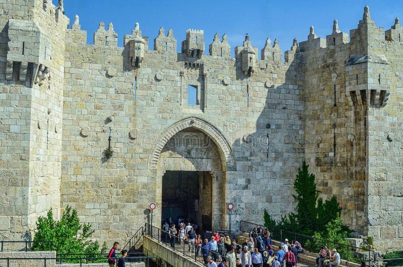 Porte de Damas à la vieille ville de Jérusalem photos stock