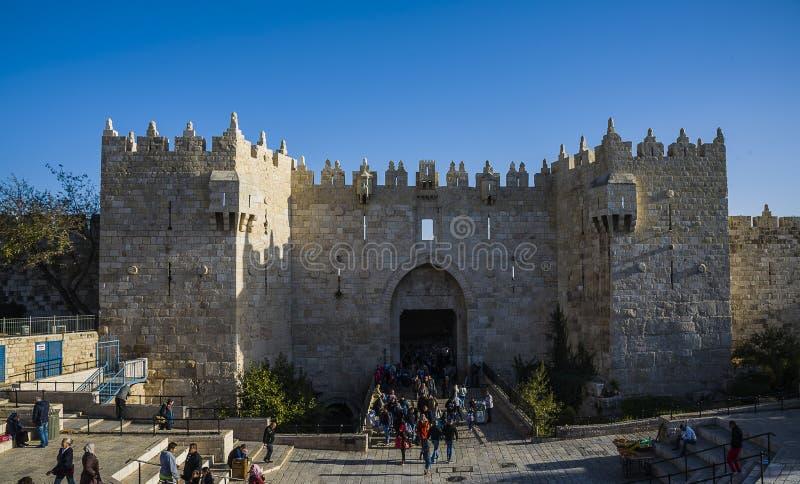 Porte de Damas de vieille ville Jérusalem image stock