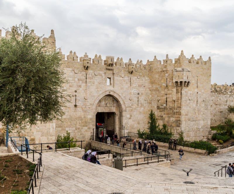 Porte de Damas, porte de Shechem à Jérusalem images libres de droits
