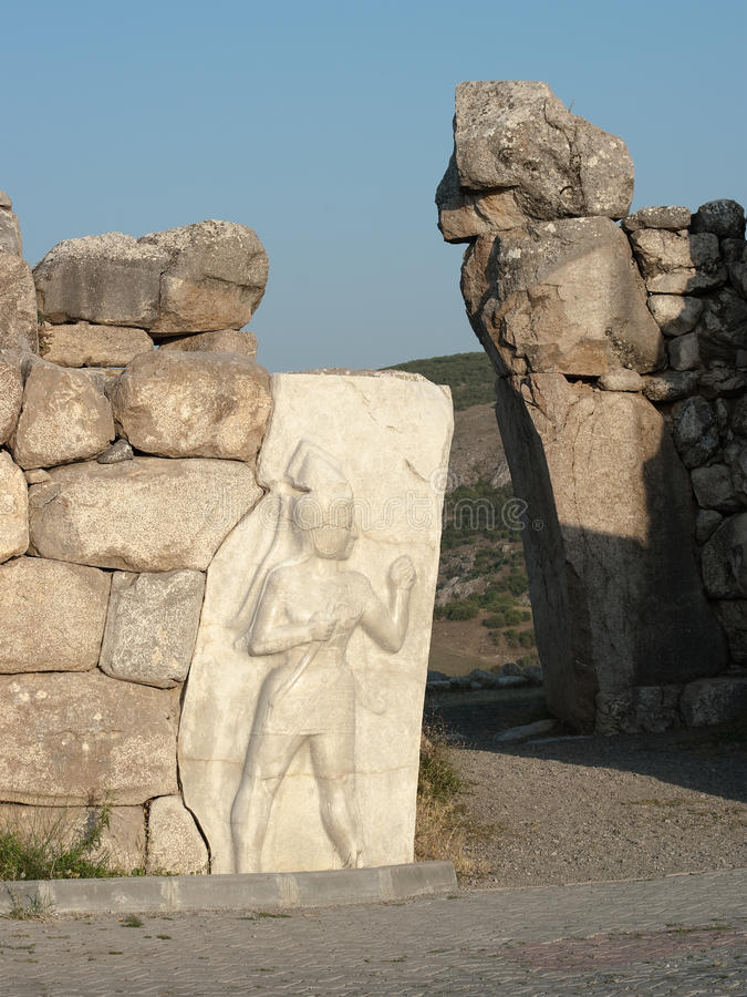 Porte de Hattusa, le capital de Hittite images stock