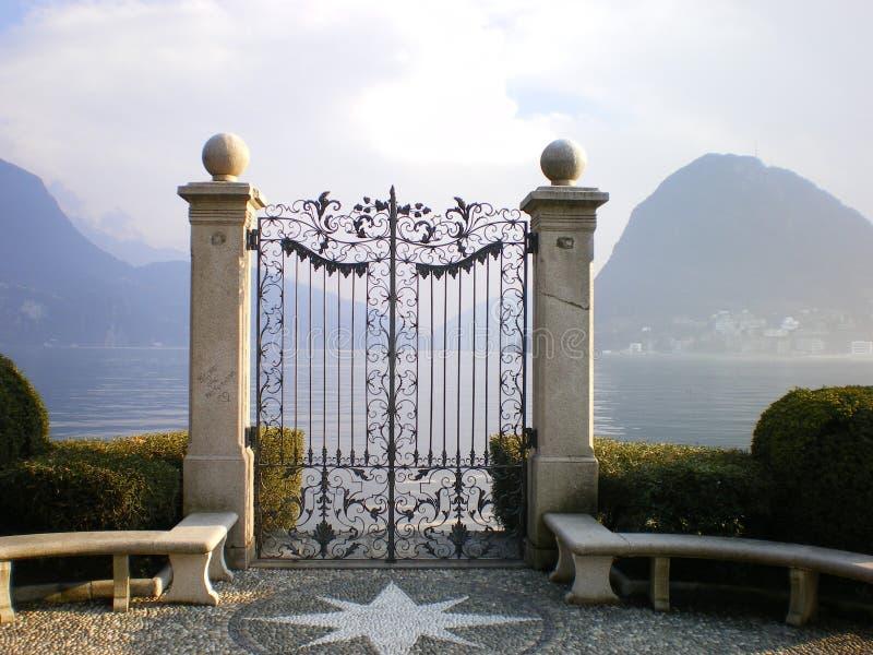 Porte de Lugano de lac au paradiso photos stock