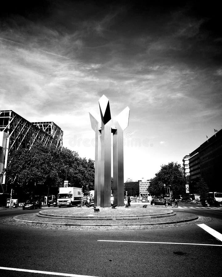 Porte de Namur. Monument, design, architecture, art, metal, blackandwhite, ixelles, bruxelles, belgique, belgium royalty free stock photo