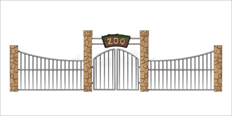 Porte de zoo Objet d'isolement dans le style de bande dessinée sur le fond blanc Passage avec le trellis illustration de vecteur