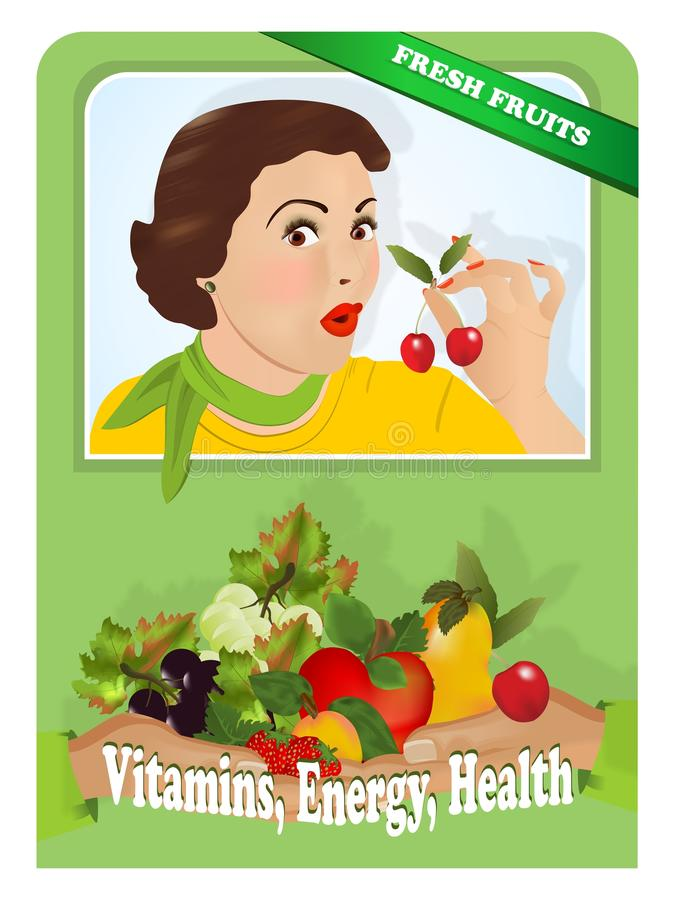 Porte des fruits la rétro annonce illustration de vecteur