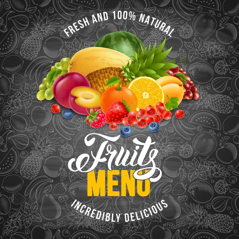 Porte des fruits le menu illustration stock