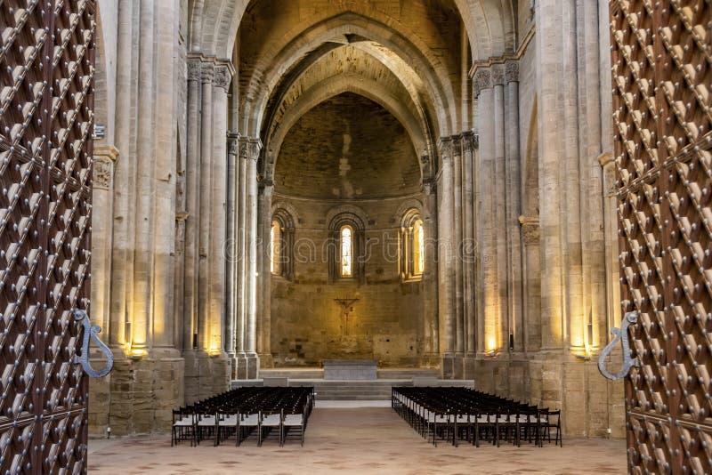 Porte di entrata alla vecchia cattedrale di Lleida La Catalogna Spagna immagini stock libere da diritti