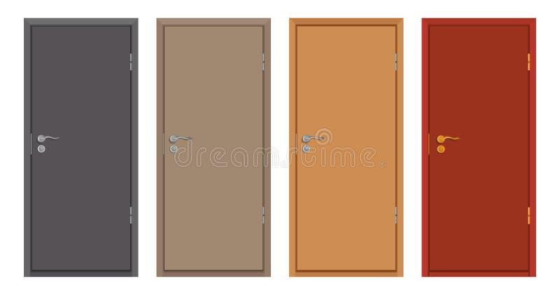 Porte di legno colorate isolate su fondo bianco, porta di legno realistica, illustrazione di colore di progettazione differente d illustrazione di stock