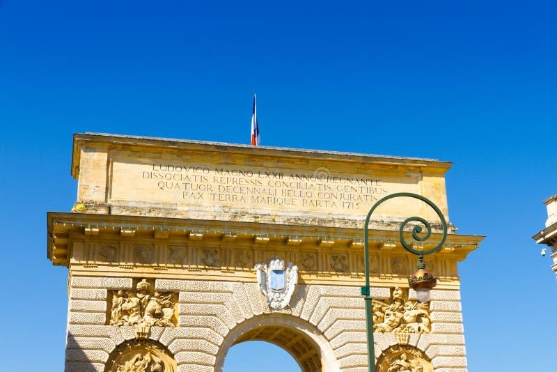 Porte du佩鲁1693,一个城市门在蒙彼利埃,法国 免版税库存图片