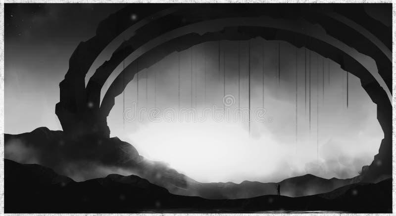 Porte du croquis noir et blanc de concept d'illustration de lumière du soleil image stock