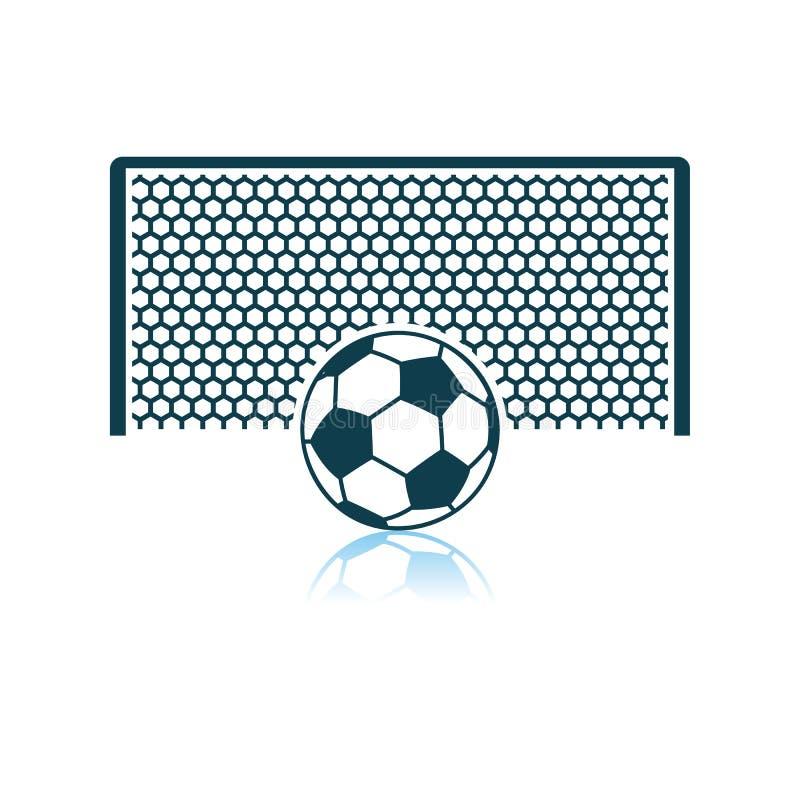 Porte du football avec la boule sur l'ic?ne de point de p?nalit? illustration stock