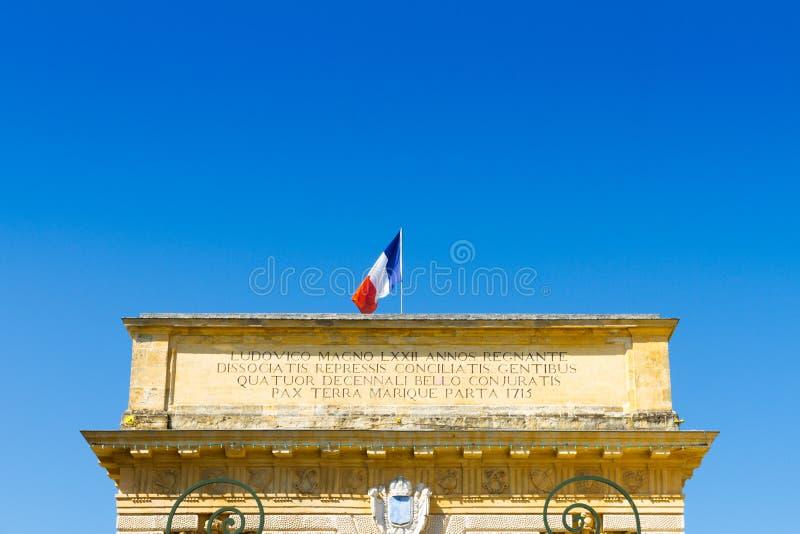 Porte du Peyrou 1693, une porte de ville à Montpellier, France image stock