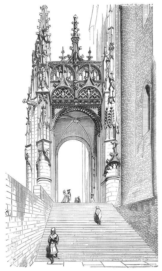 Porte du sud de cathédrale d'Albi image stock
