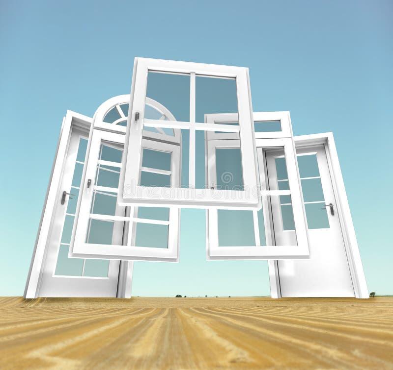 Porte e scelta delle finestre, paesaggio illustrazione di stock