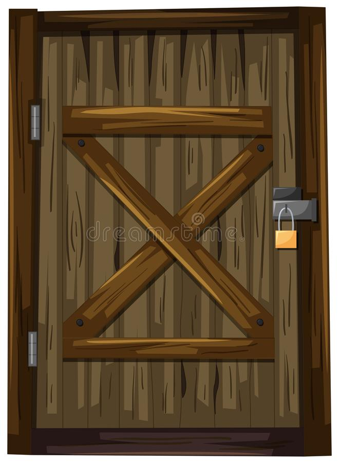 Porte en bois avec la serrure illustration stock