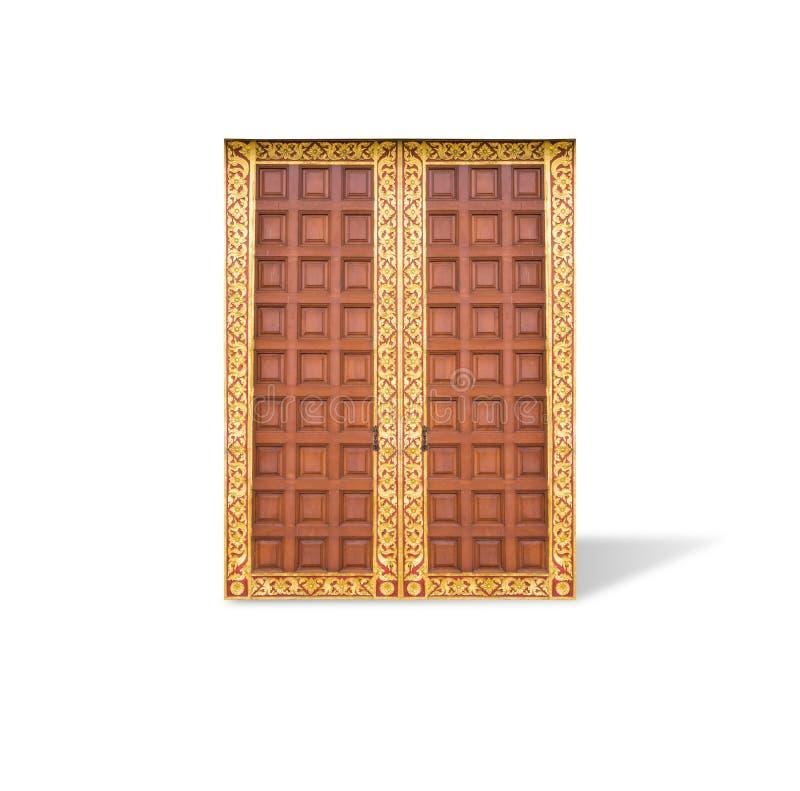 Porte en bois avec le motif ornemental tha?landais, d'isolement sur le fond blanc images stock