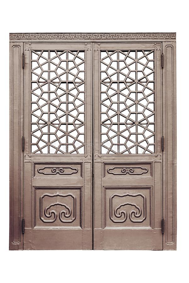 Porte en bois chinoise de style traditionnel sur le fond blanc d'isolement photos stock