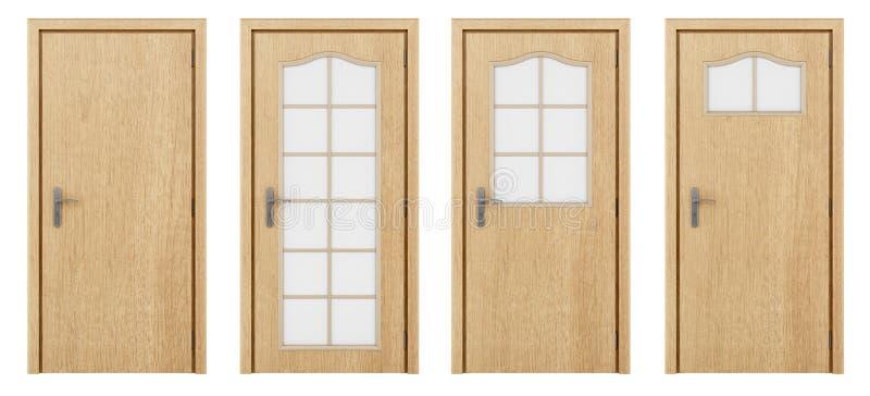Porte en bois d'isolement sur le blanc illustration stock