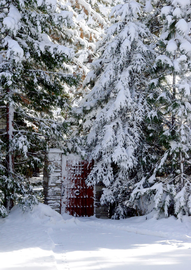 Porte en bois d'une neige photos stock