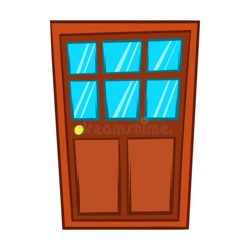 Porte en bois de Brown avec l'icône en verre, style de bande dessinée illustration stock