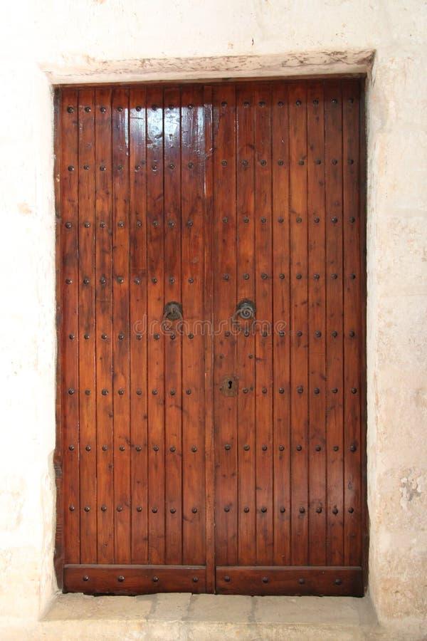 Porte en bois, monastère de la croix, Jérusalem, Israël photographie stock
