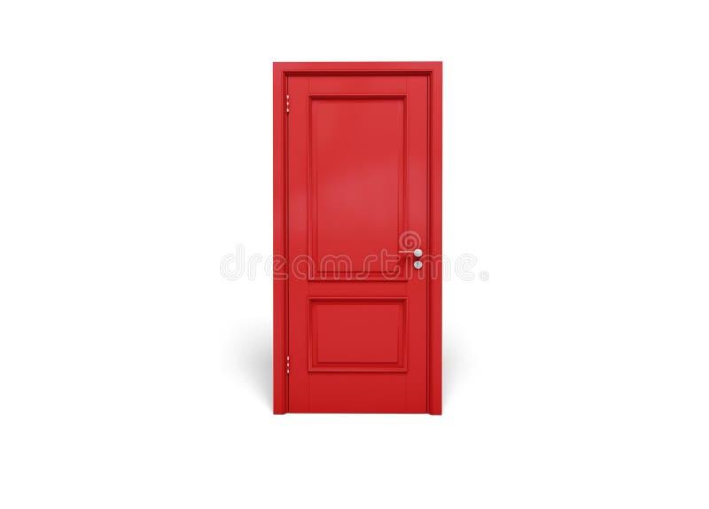 Porte en bois rouge d'isolement sur le fond blanc image stock