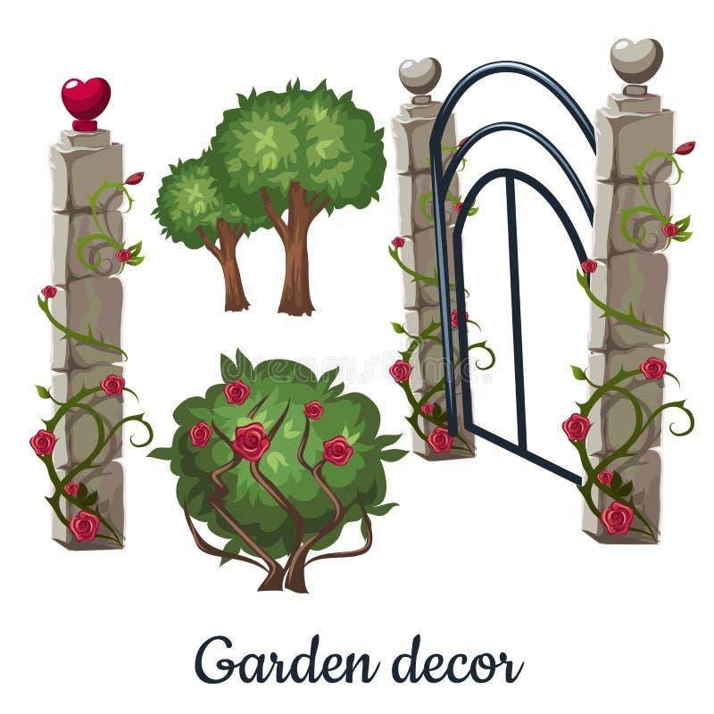 Porte en pierre envahie avec des roses Décor de jardin Illustration de vecteur illustration libre de droits