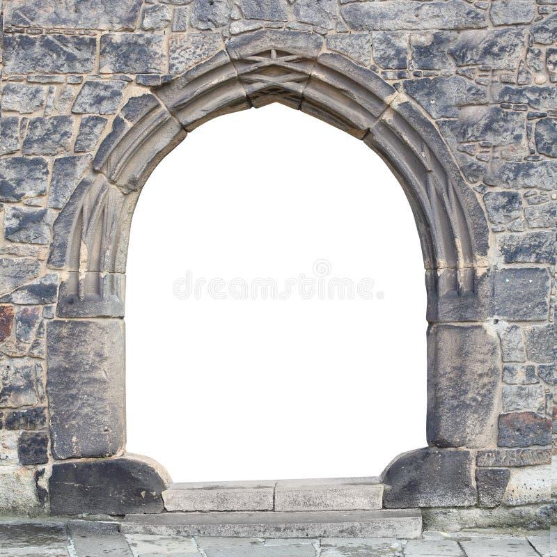 Porte en pierre gothique. photo libre de droits