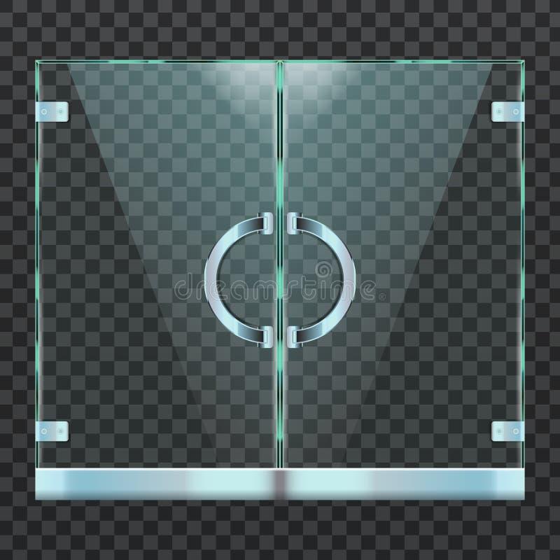 Porte en verre moderne réaliste de l'entrée d'intérieur de mail, de boutique ou de bureau Illustration de vecteur illustration de vecteur
