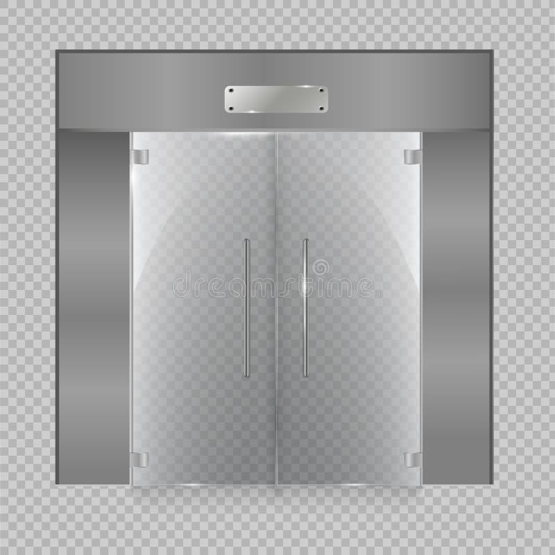 Porte en verre sur d'isolement sur le fond transparent Illustration de vecteur photo libre de droits
