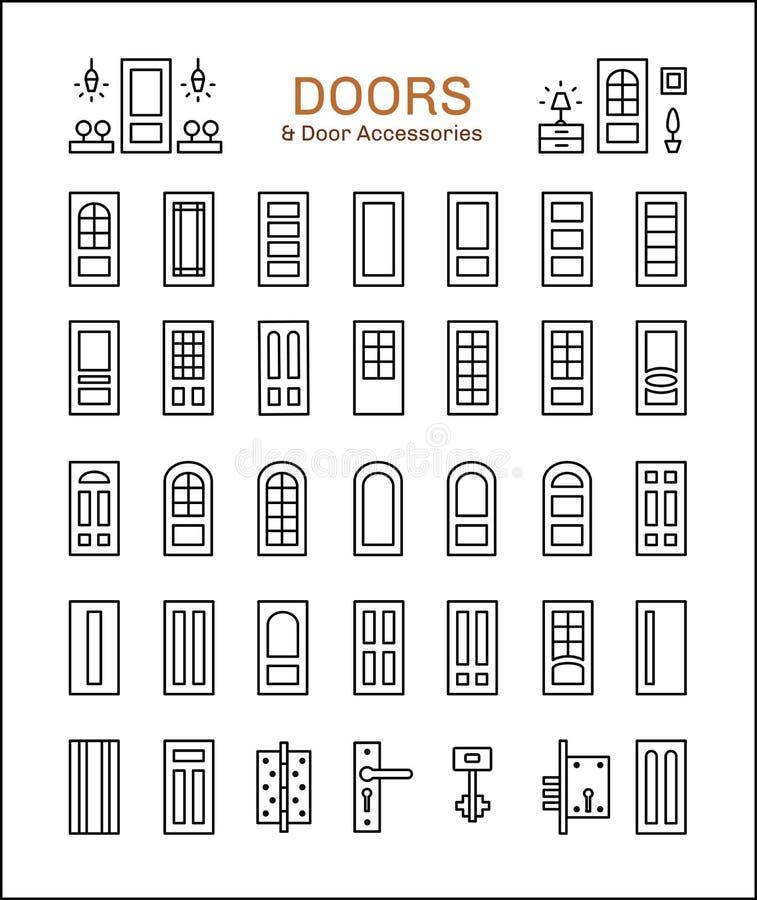 Porte et accessoires Ligne ensemble d'icône illustration stock