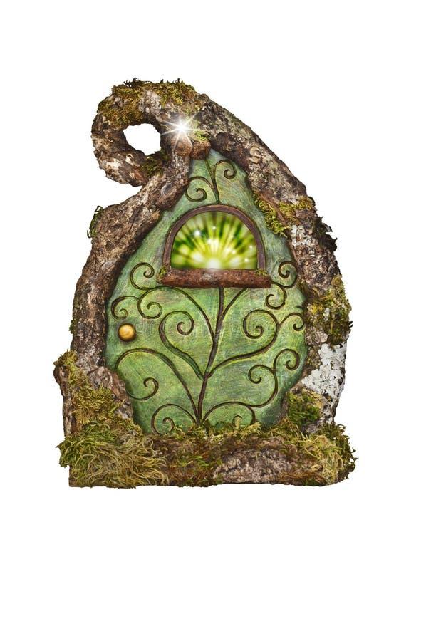 Porte féerique magique pour l'arbre enchanté dans la forêt photo libre de droits