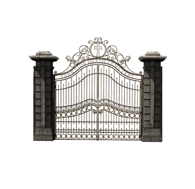 Porte gothique de cimetière fantasmagorique illustration libre de droits