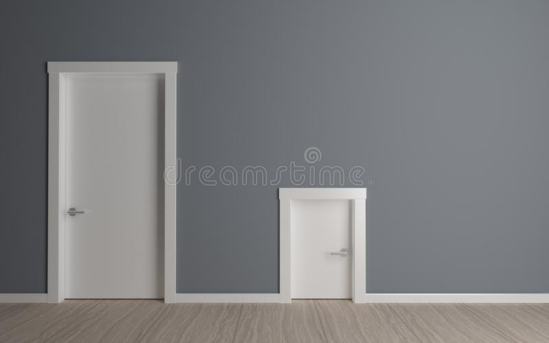 Porte grande et petite illustration stock