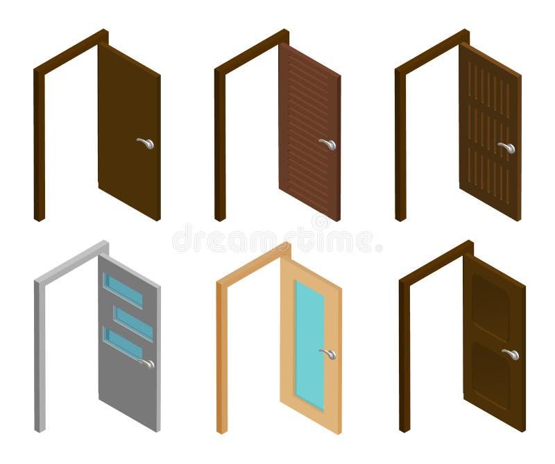 Porte isométrique Collection de portes ouvertes isométriques avec la poignée 3d plat moderne, maison ou bureau, portes en bois et illustration de vecteur